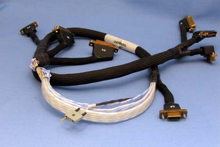 Complex aerospace cable with variety of connectors by Cicoil